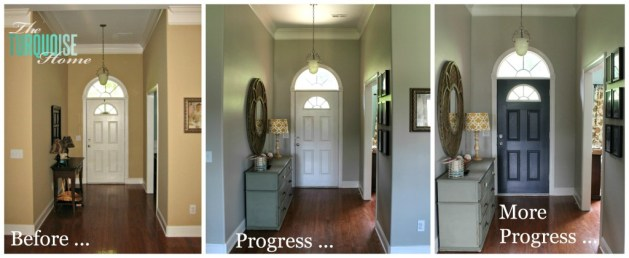 How to Paint an Interior Door  Hale Navy   The Turquoise Home painted front door collage 2