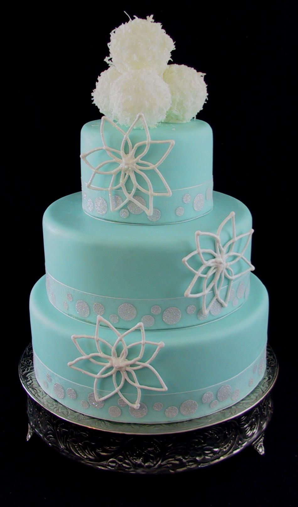 Fondant Wedding Cake Tiffany Blue With Snow Flake And Snow
