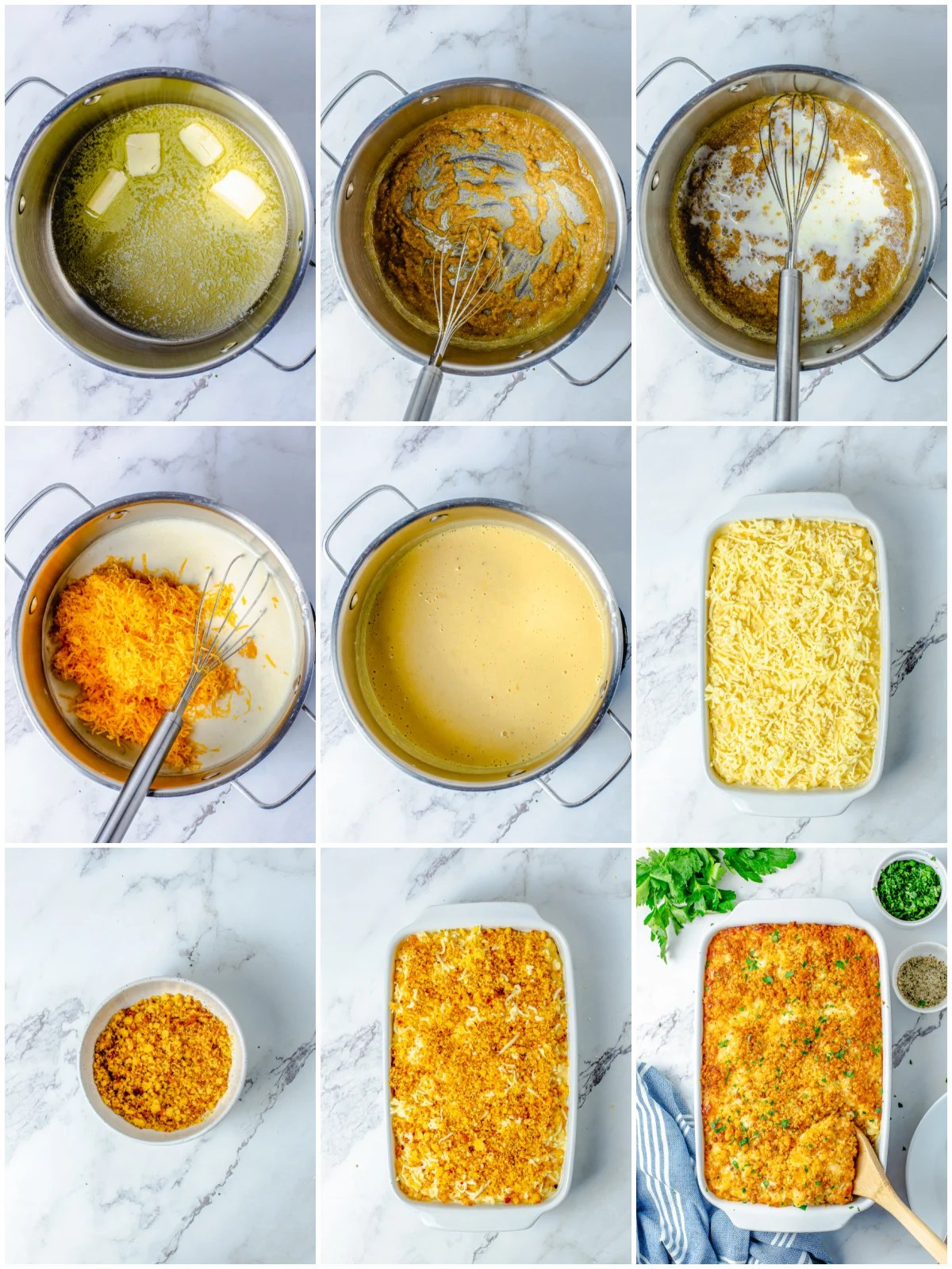 Step by step photos on how too make Baked Macaroni and Cheese with Cornbread Crust.