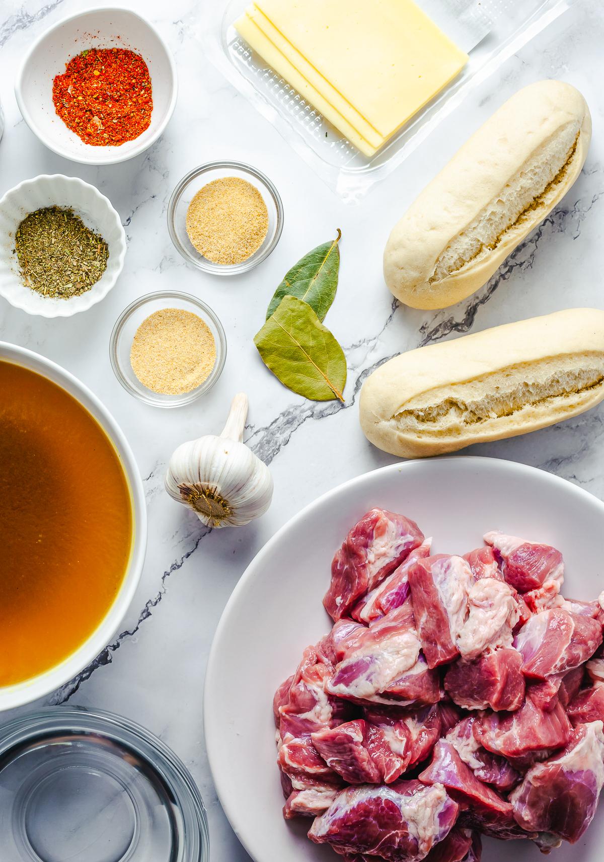 Ingredients to make a Crock Pot French Dip.