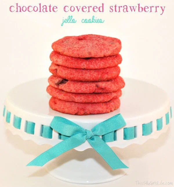Chocolate Covered Strawberry Jello Cookies