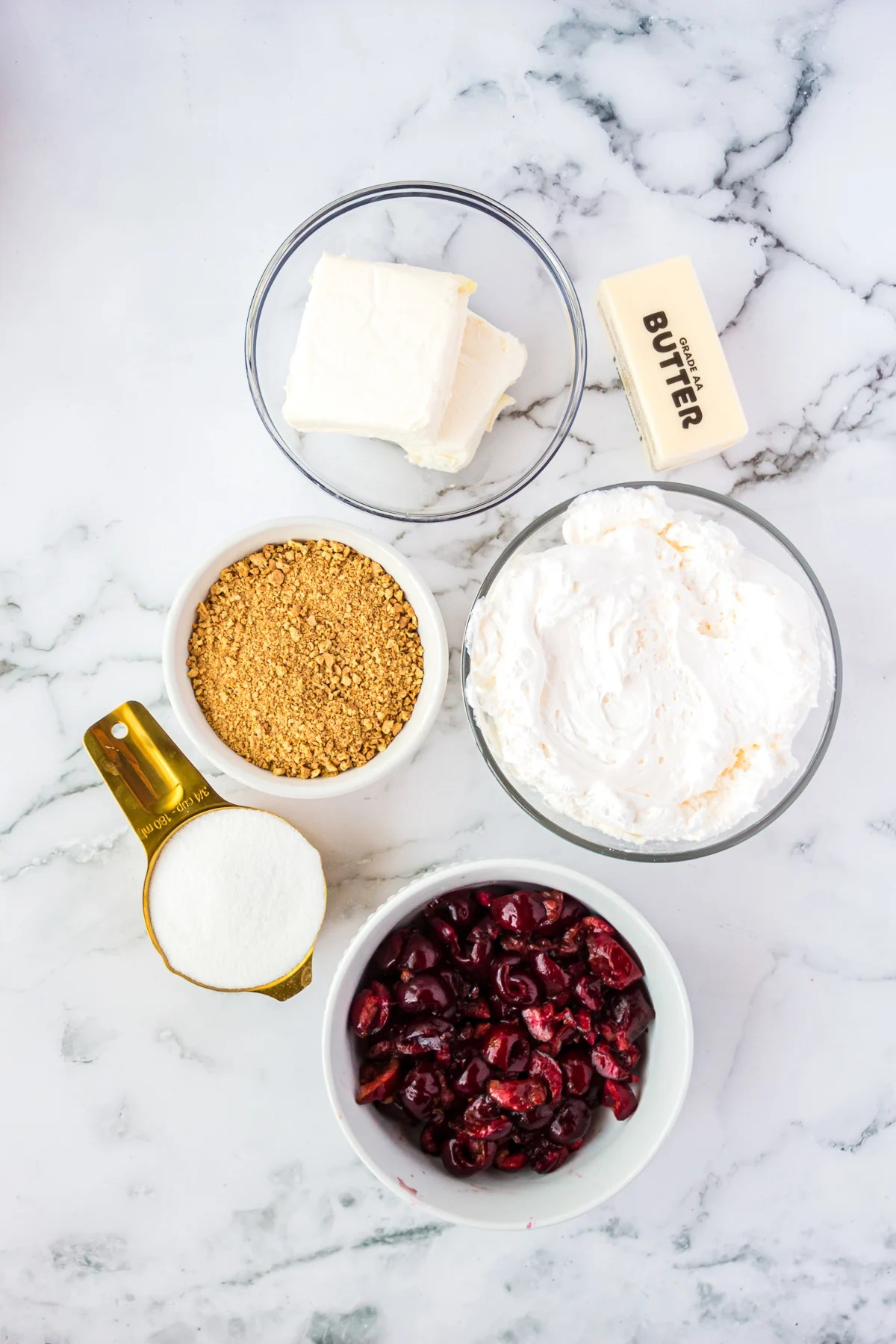 Ingredients needed to make a Cherry Cheesecake
