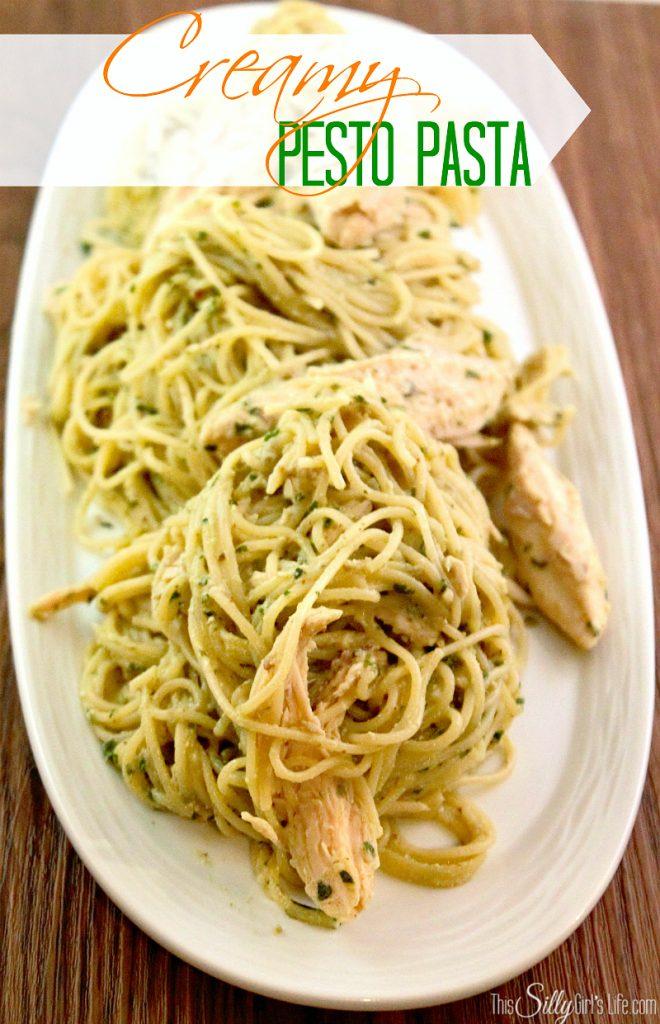 Creamy Pesto Pasta recipe from https://ThisSillyGirlsLife.com #Pesto #Basil #Pasta #Creamy