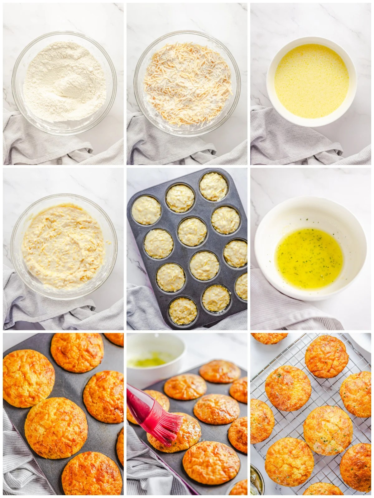 Step by step photos on how to make Garlic Cheese Muffins.