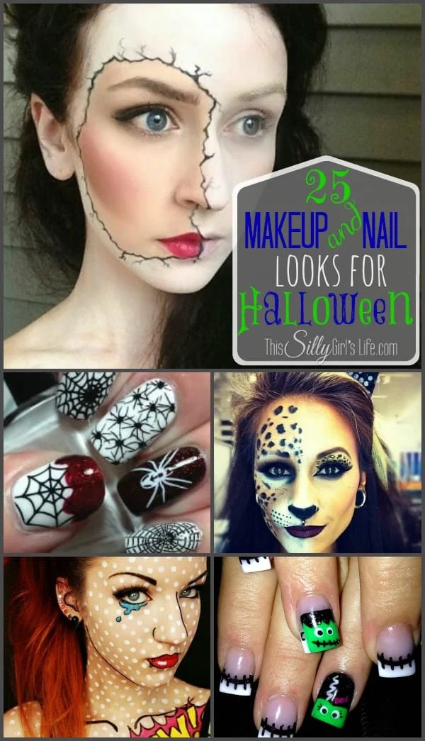 25 Makeup and Nail Looks for Halloween {The Weekly Round UP} from https://ThisSillyGirlsLife.com #HalloweenMakeup #HalloweenNails #RoundUp