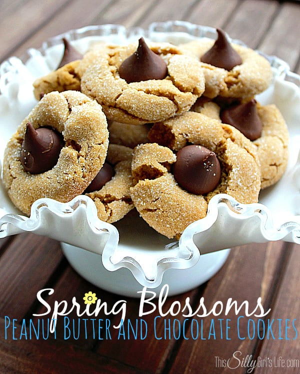 Spring Blossoms Peanut Butter and Chocolate Cookies, peanut butter cookies, with a cute little Hershey's kiss.