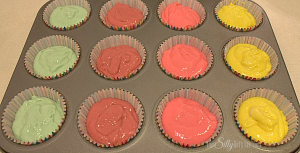 Each color makes 3 cupcakes, with a touch of each batter left over.
