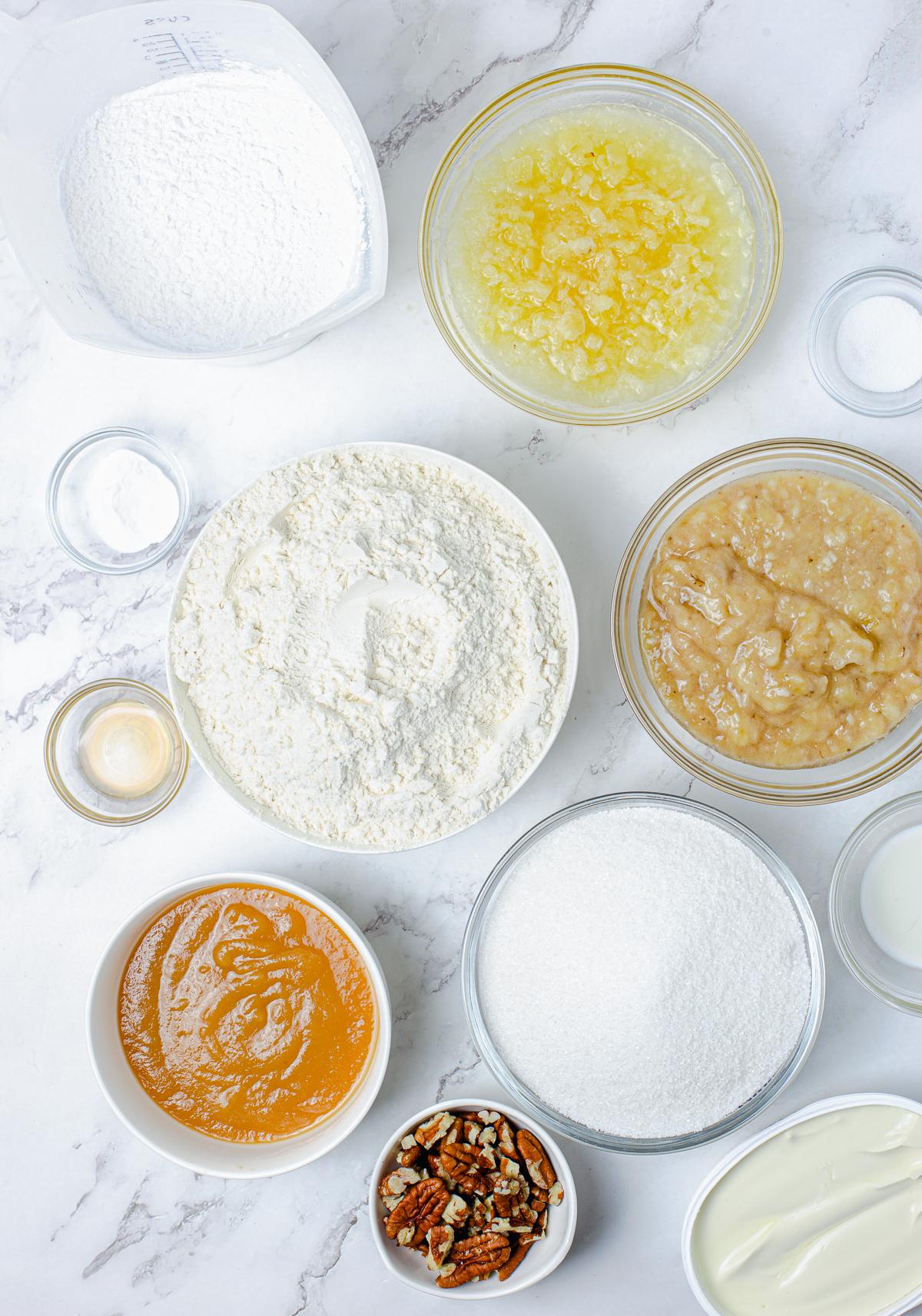 Ingredients needed to make a Hummingbird Bundt Cake