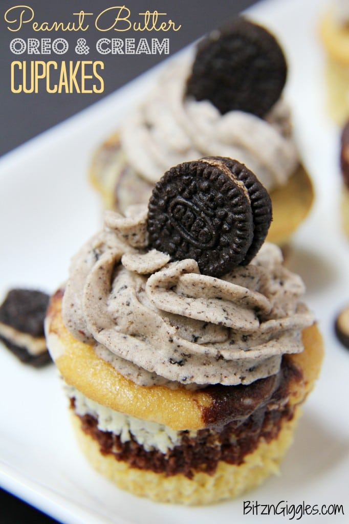 Peanut Butter Oreo and Cream Cupcakes, marble cupcakes with a surprise cream cheese and peanut butter Oreo center, topped with Oreo Peanut Butter & Cream frosting.