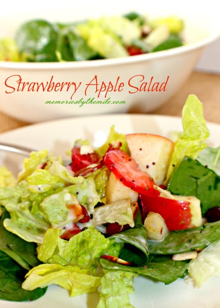 Strawberry Apple Salad with poppy seed dressing, a real crowd pleaser and customizable!
