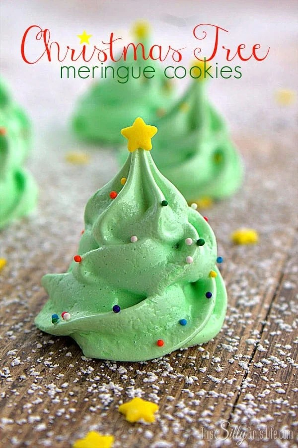 Christmas Tree Cookies lined up decorated Pinterest image