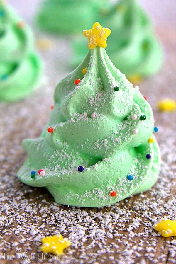 Close up of one decorated Christmas Tree Cookie