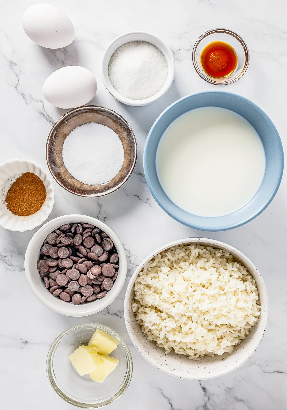 Ingredients needed to make Chocolate Rice Pudding.