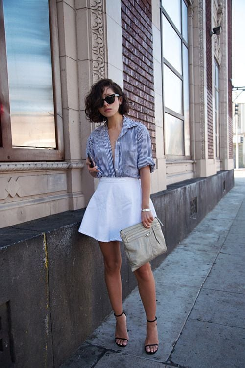 white-fit-and-flare-skirt