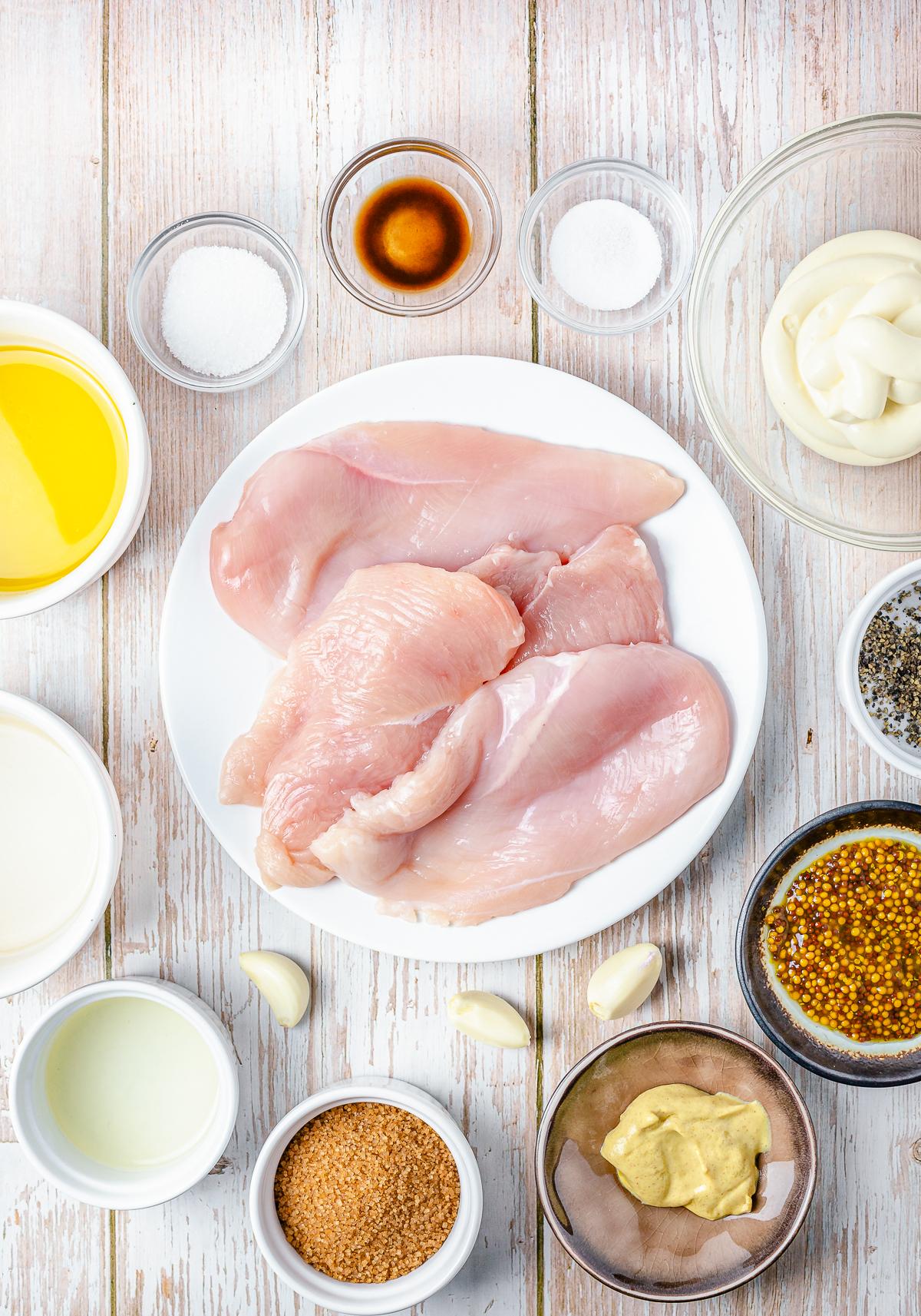 Ingredients needed to make Mustard Grilled Chicken Sandwiches