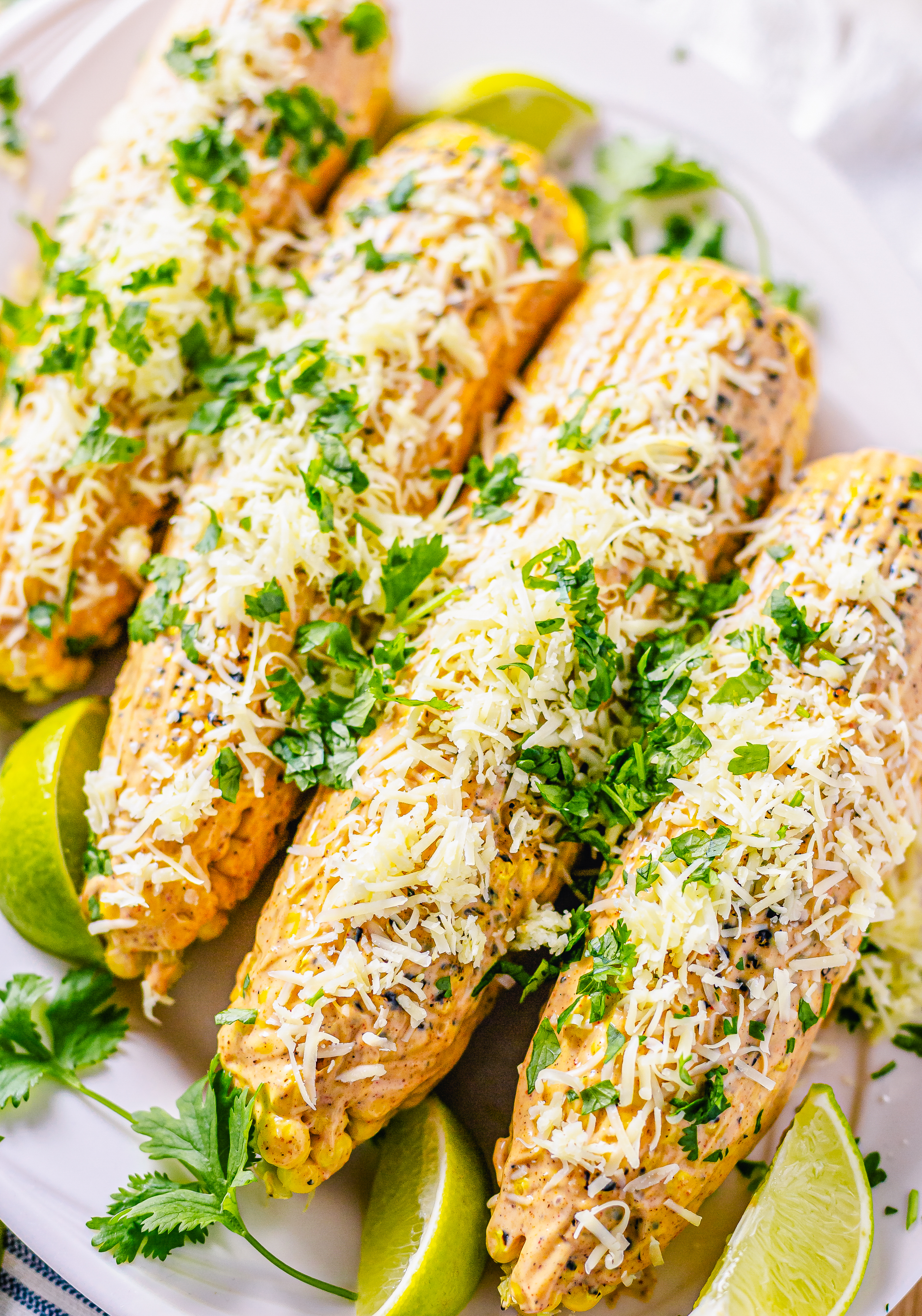 Close up overhead of Mexican Street Corn garnished