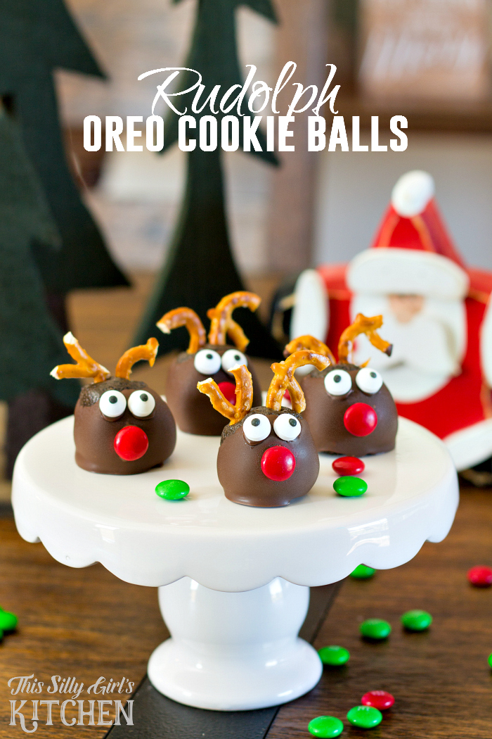 Rudolph Oreo Cookie Balls, fun and festive, made with mint Oreos for an extra holiday twist! from ThisSillyGirlsLife.com #oreocookieballs