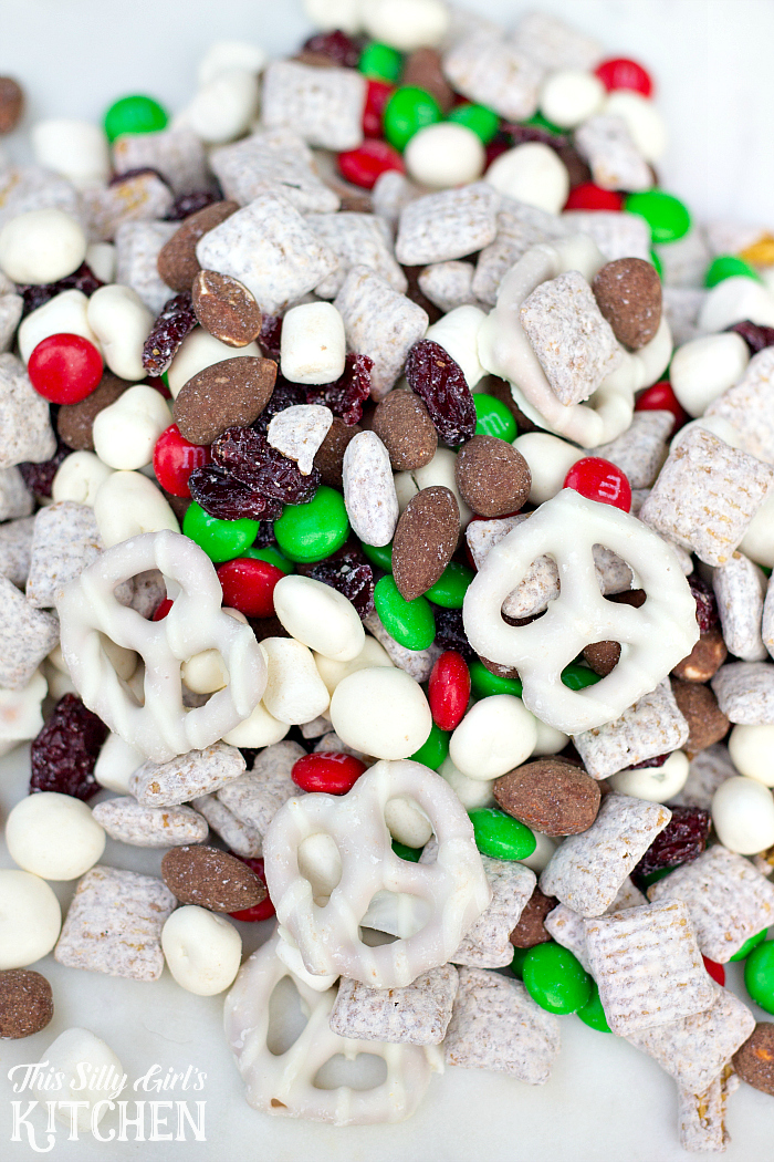 Close up of ingredients in Christmas Trail Mix