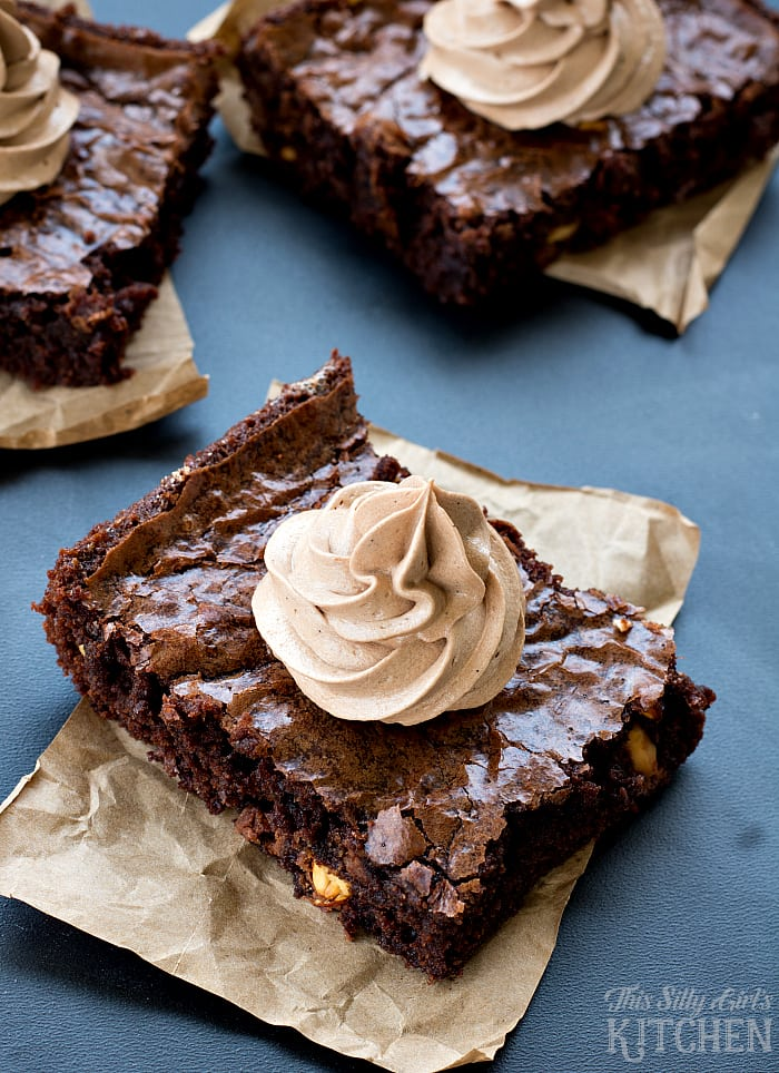 Mocha Nut Brownies, fudgy brownies loaded with peanut M&M's®, topped with mocha frosting! from ThisSillyGirlsLife.com #ad #Walmart #MMSFlavorVote