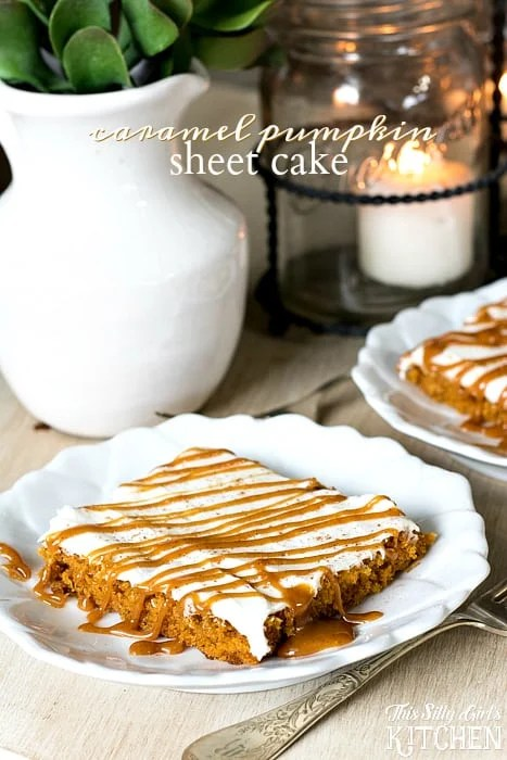 Pumpkin Sheet cake on white plate