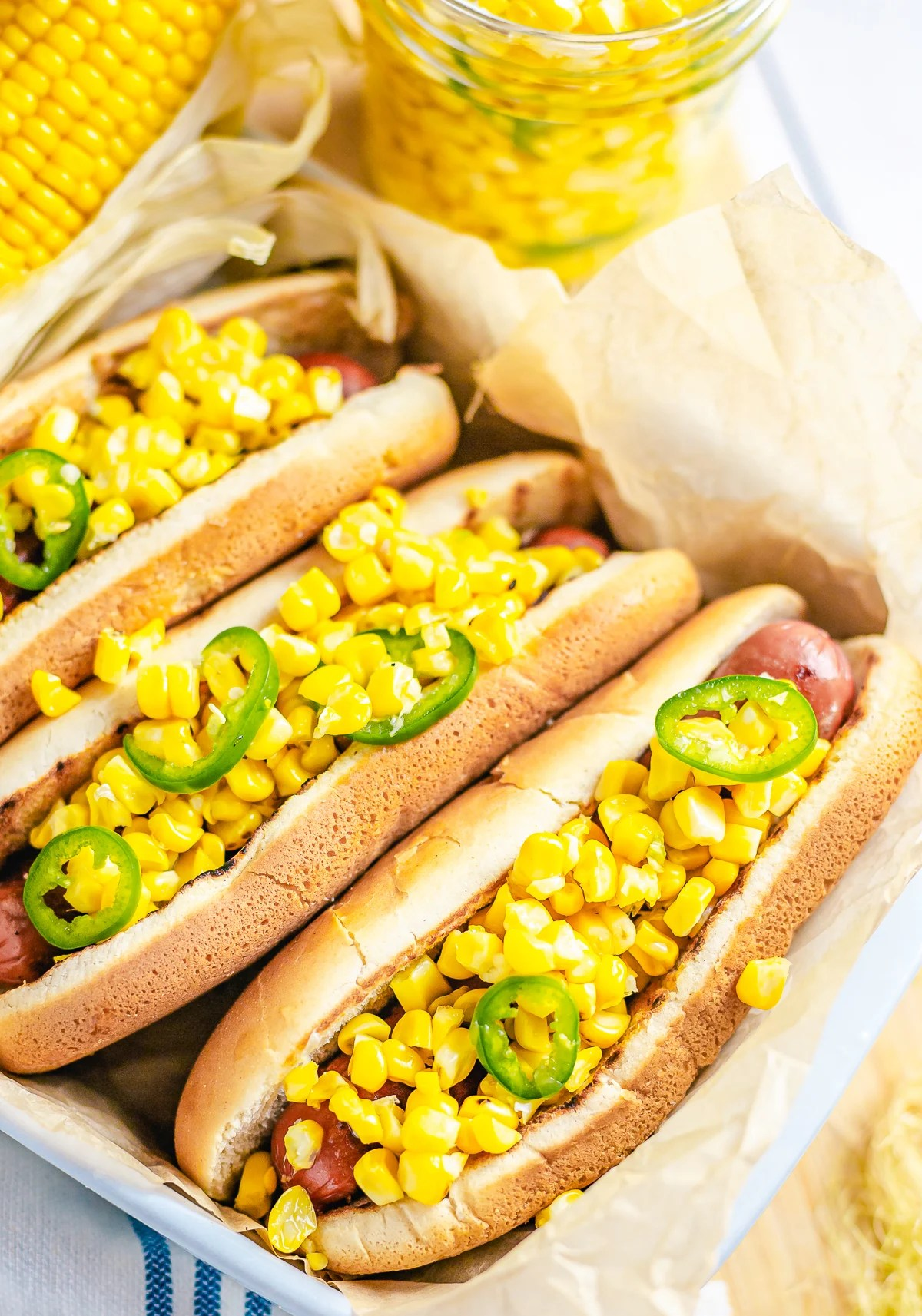Corn Relish on top of hot dogs