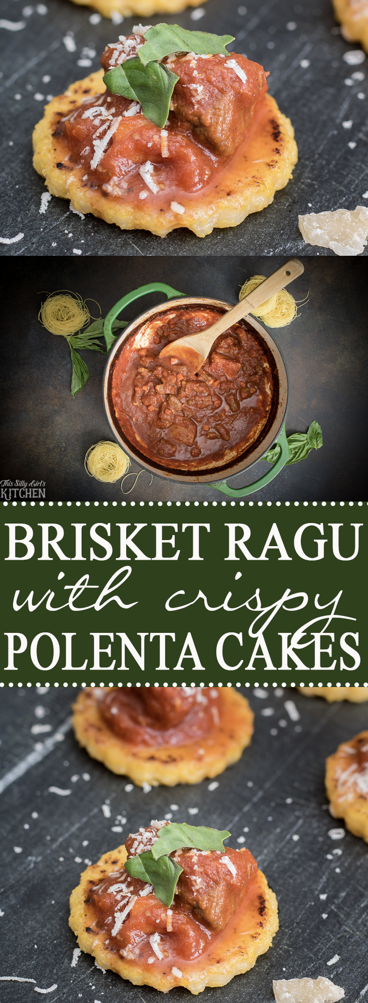 Brisket Ragu with Crispy Polenta Cakes is an elegant appetizer to serve at your next party! Recipe from ThisSillyGirlsKitchen.com #BrisketRagu #Ragu #Recipe #Polenta
