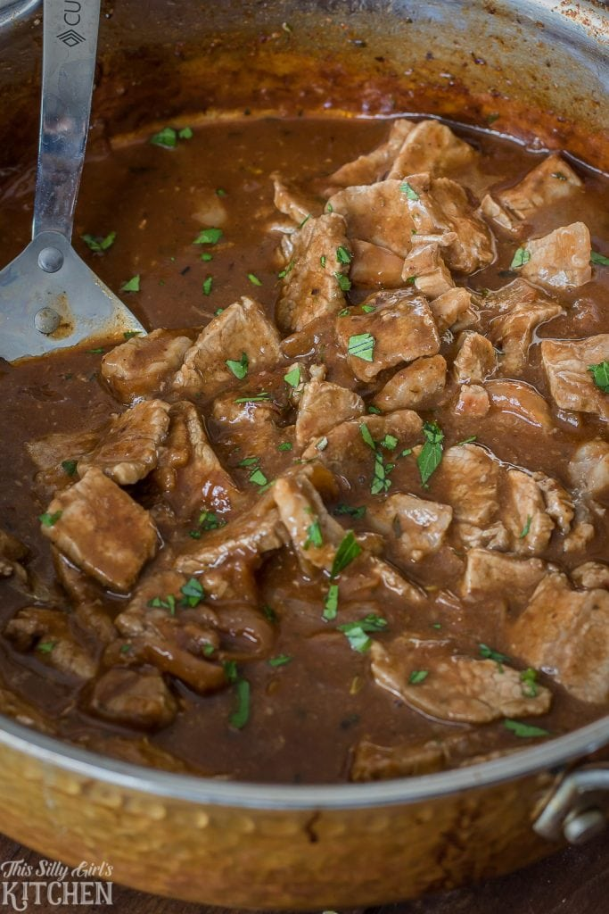 Steakhouse Beef Tips with gravy in pan