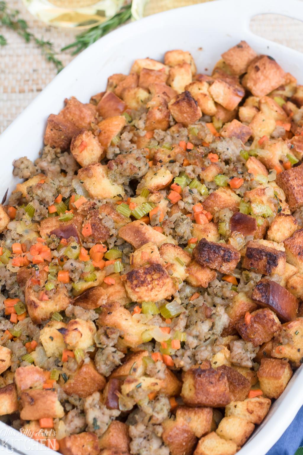 Italian Sausage Stuffing in casserole dish