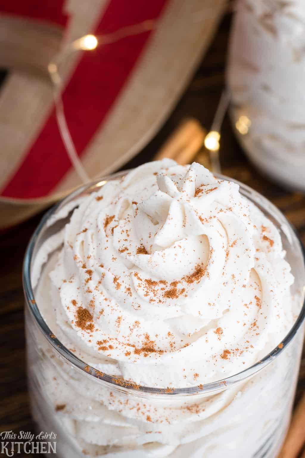 Cinnamon Stabilized Whipped Cream, foolproof recipe for stabilized whipped cream with a festive touch! #Recipe from ThisSillyGirlsKitchen.com #cinnamon #stabilizedwhippedcream #homemadewhippedcream