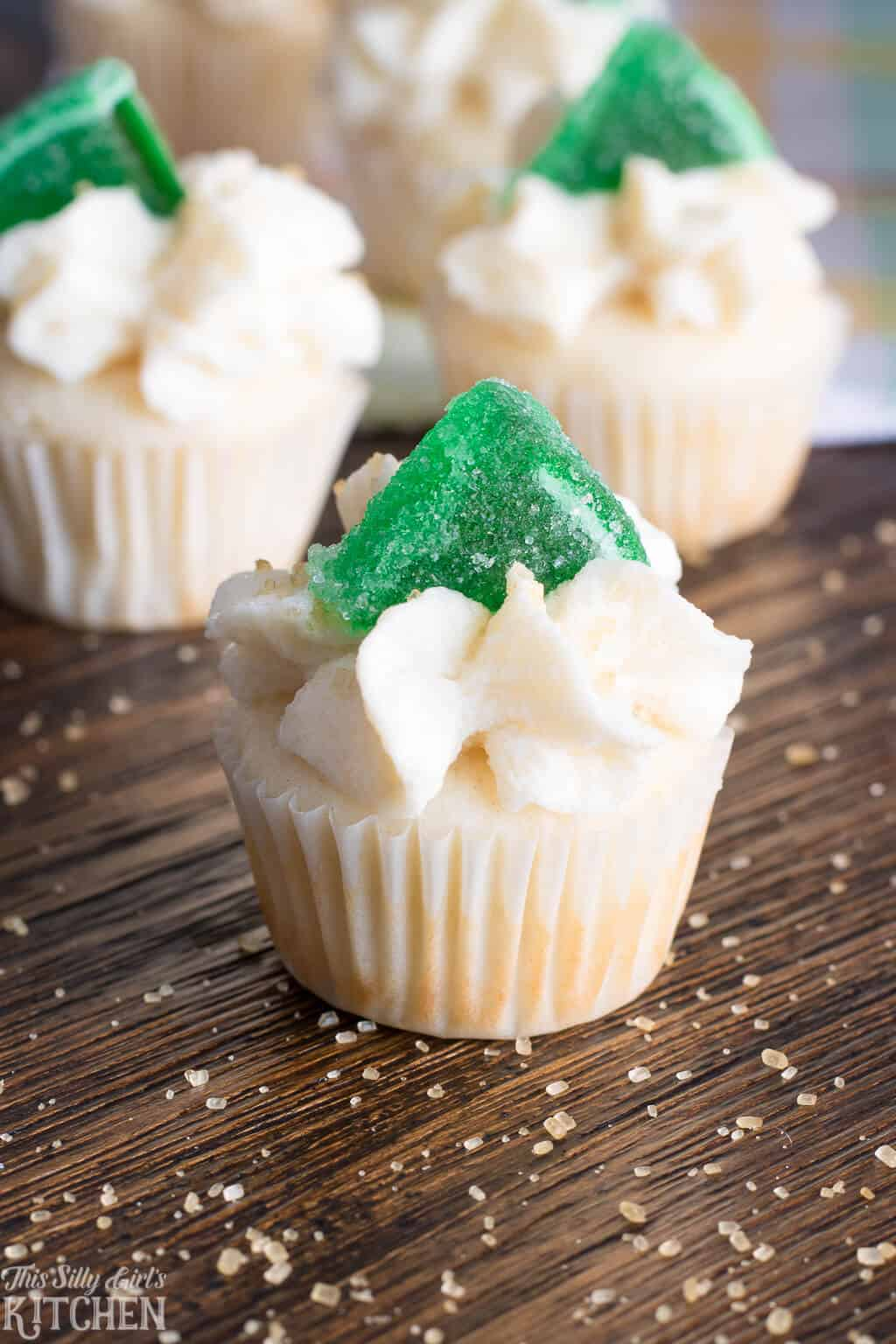 Margarita Cupcakes, festive bite-sized cupcakes with margarita flavors! #Recipe from ThisSillyGirlsKitchen.com #cupcakes #margarita #margaritacupcakes