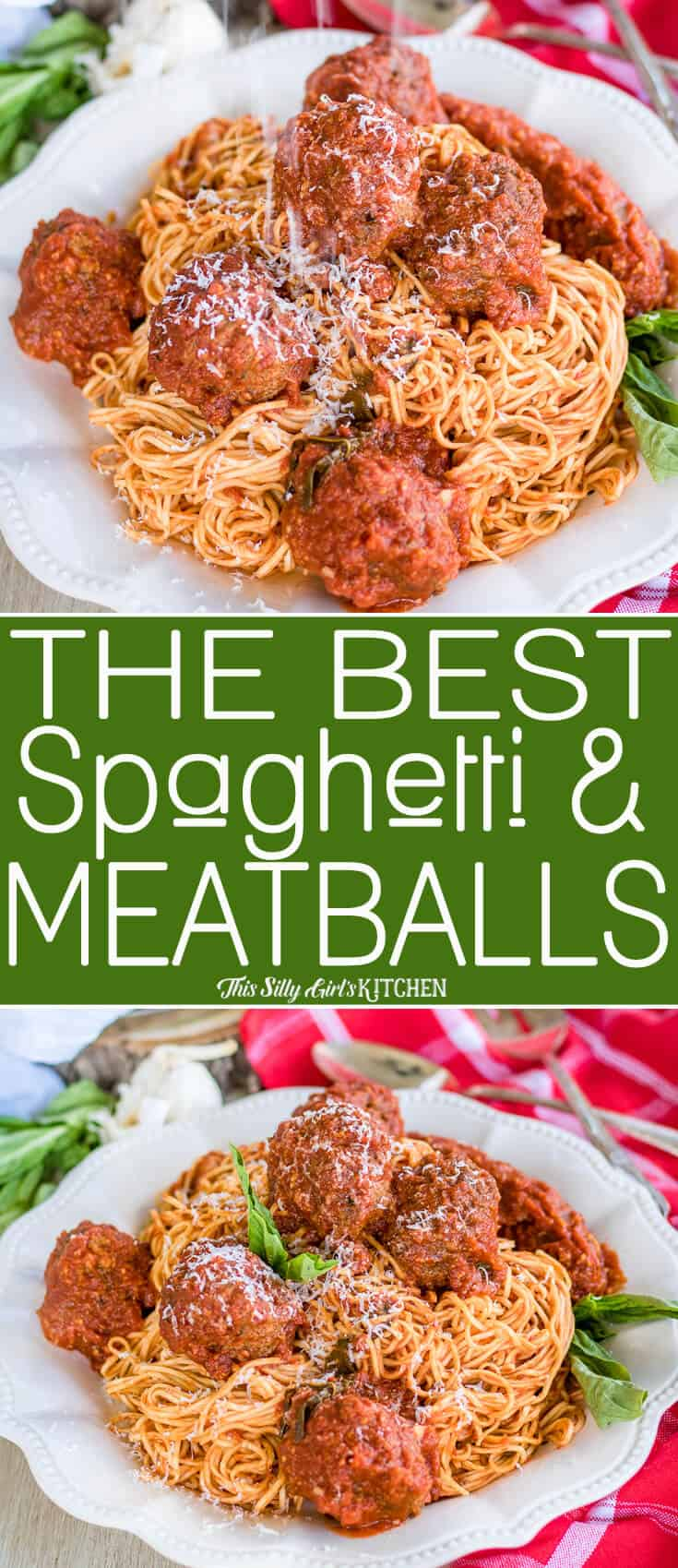 Spaghetti and Meatballs on white plate Pinterest Image