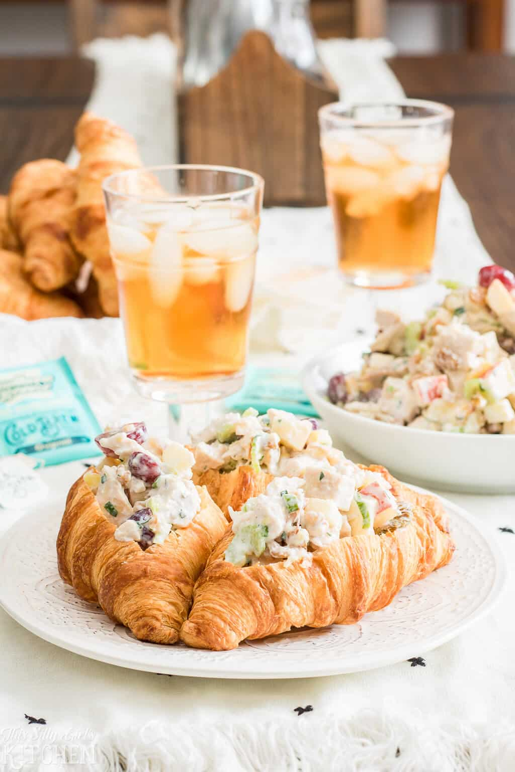 Waldorf Chicken Salad, rotisserie chicken and crisp fruits tossed with a tangy pineapple yogurt dressing! #Recipe from ThisSillyGirlsKitchen.com #chickensalad @waldorfsalad #salad