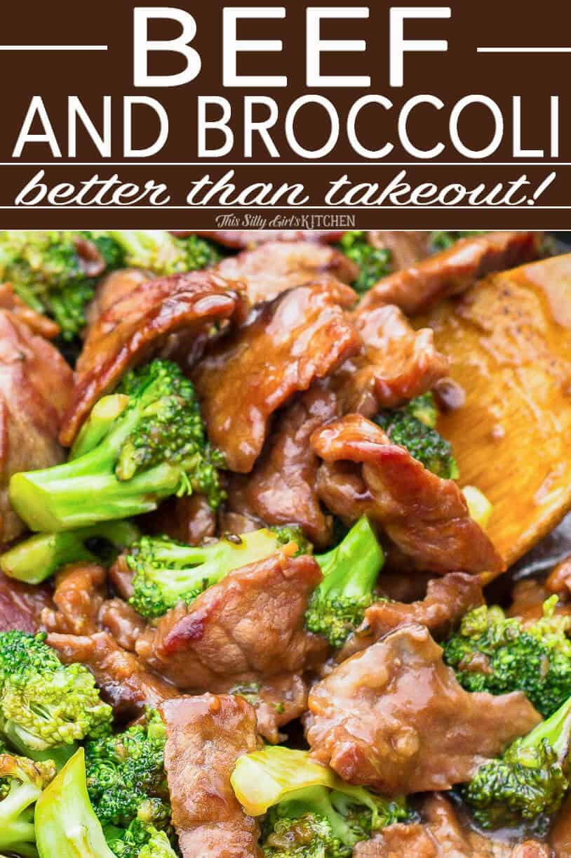 Beef and Broccoli Pinterest image with wooden spoon in pan