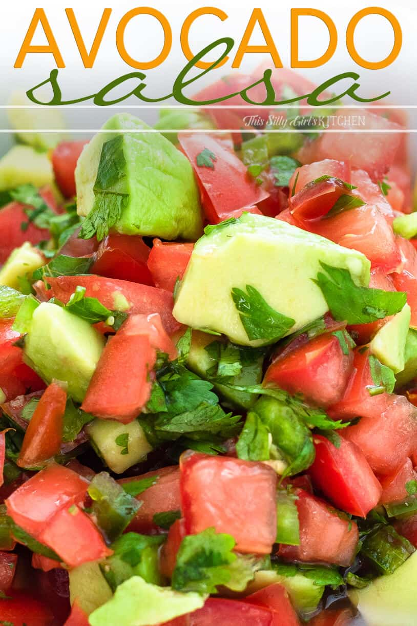 Close up of salsa showing chopped up ingredients Pinterest image