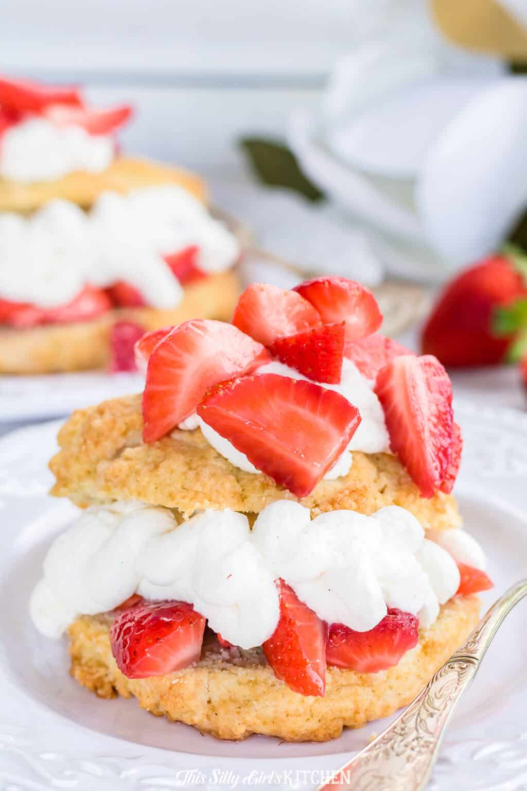 This easy strawberry shortcake recipe is soon to be a dessert you always keep in your recipe arsenal. #RECIPE from thissillygirlskitchen.com#strawberryshortcake #strawberry #dessert #summer
