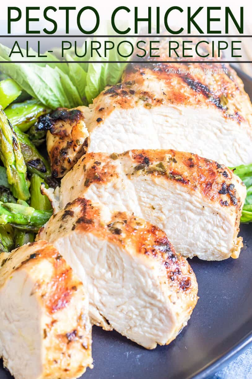 Cut up grilled chicken on plate pinterest image