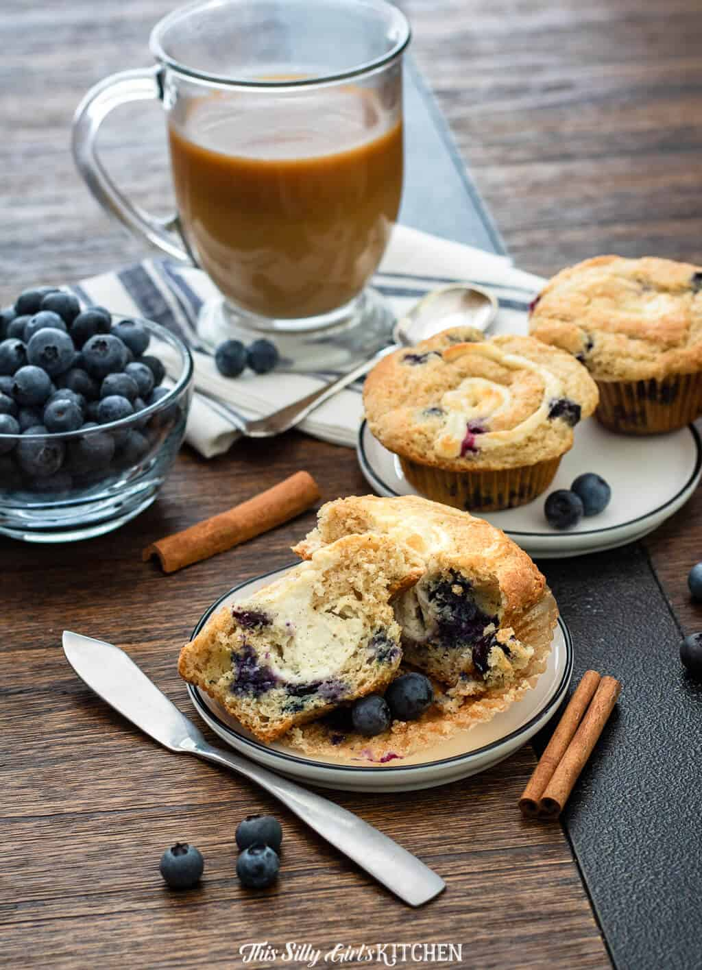 With a luscious cream cheese filling, this is by far the best blueberry muffin. #recipe from thissillygirlskitchen.com #muffin #blueberry #blueberrymuffin #bestblueberrymuffin #creamcheese #creamcheesemuffin