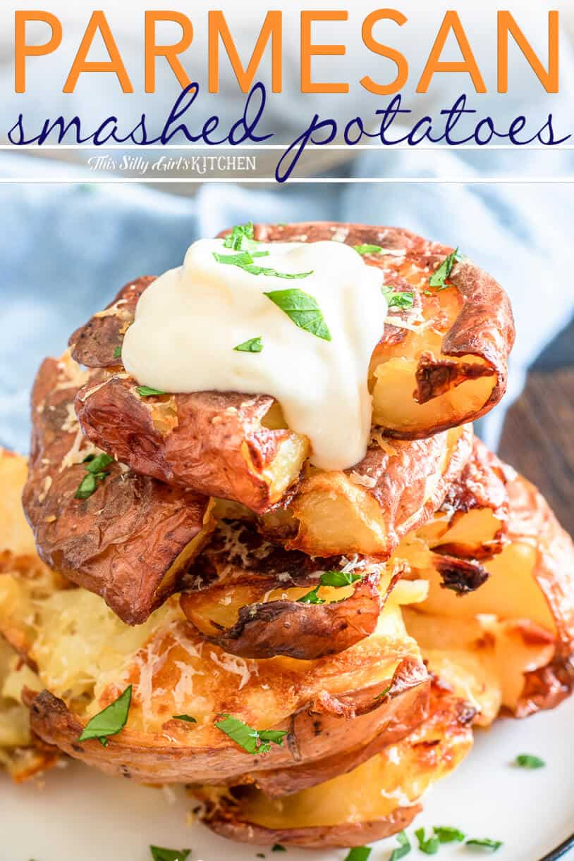 Parmesan Smashed Potatoes served with roasted garlic aioli is an easy and hearty side dish. #recipe from thissillygirlskitchen.com #potatoes #sidedish #potatosidedish #smashedpotatoes #parmesanpotatoes #garlic #garlicaioli