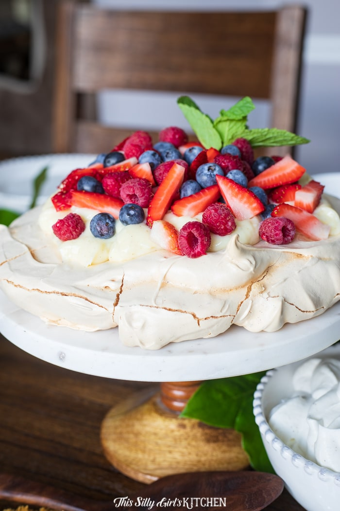 Berry Pavlova Recipe ono cake stand