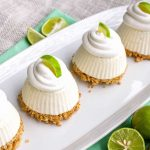 Close up of Mini Key Lime Pies on white platter square image