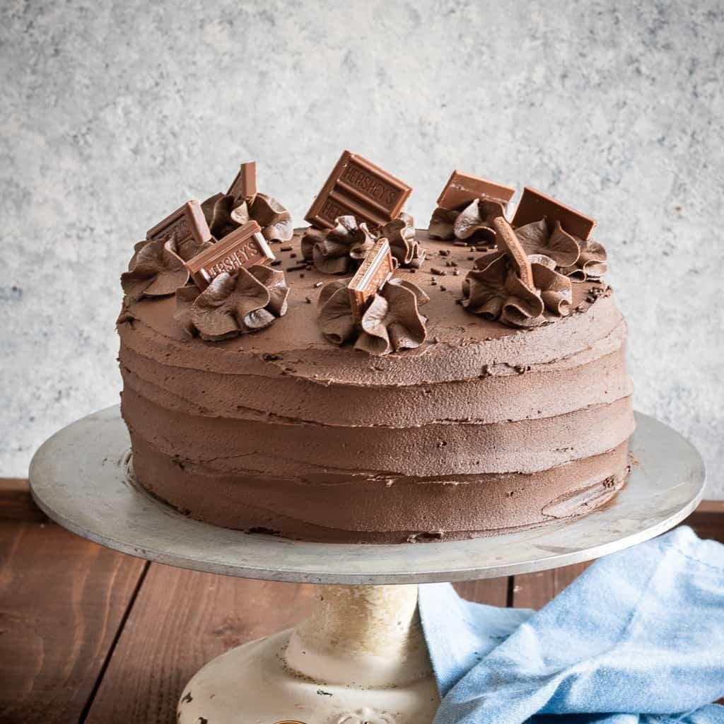 Chocolate Layer Cake on cake stand square image