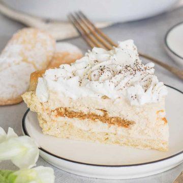 Close up of Tiramisu Pie on plate Square image