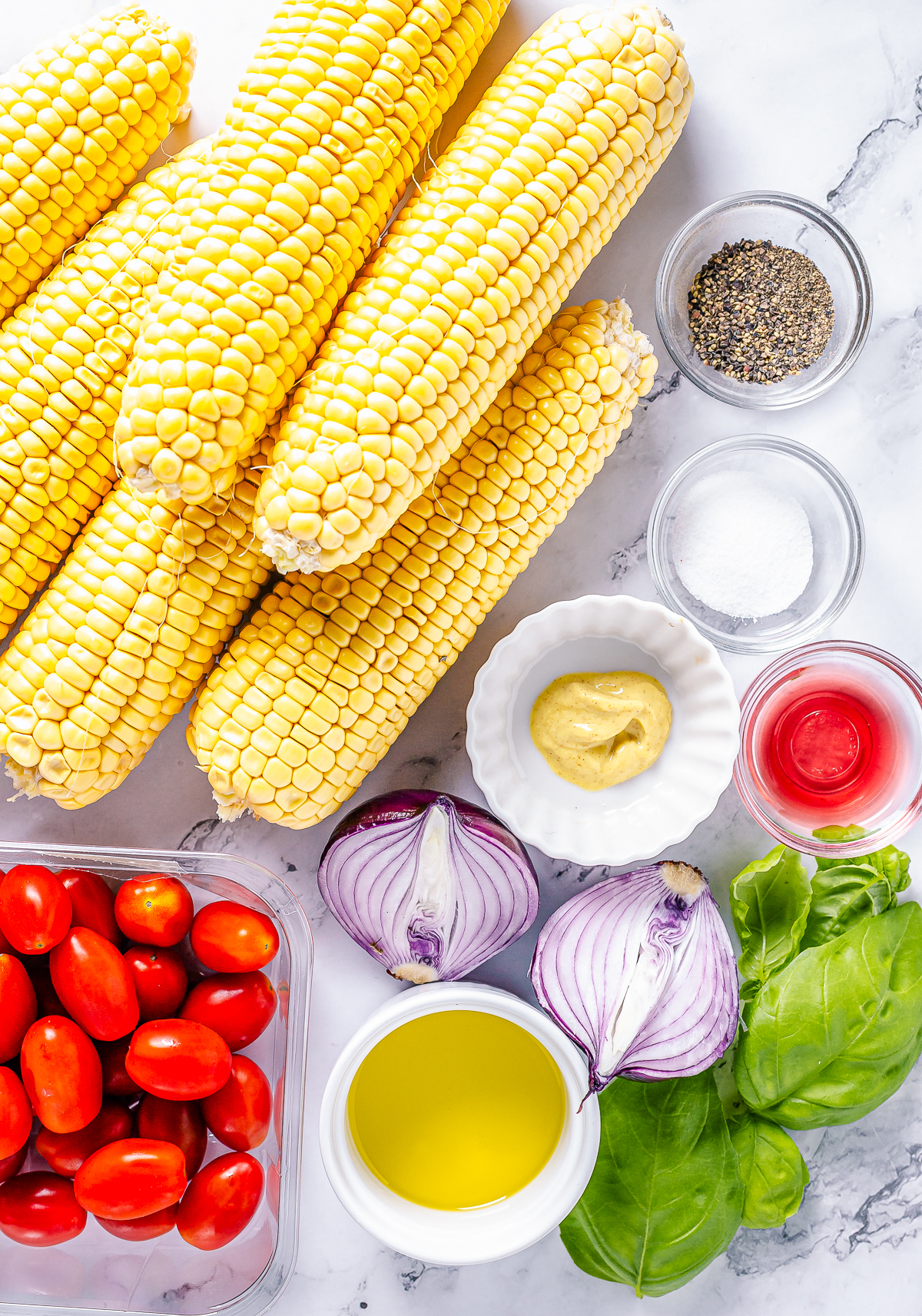 Ingredients needed to make Corn and Tomato Salad