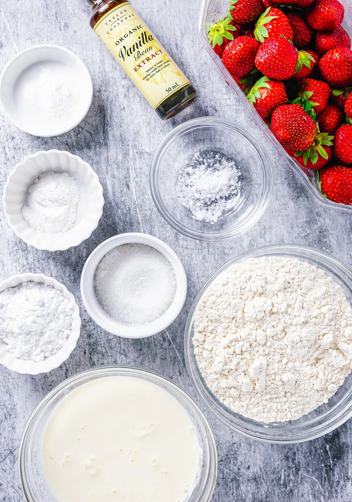 Ingredients needed to make a Strawberry Shortcake Recipe