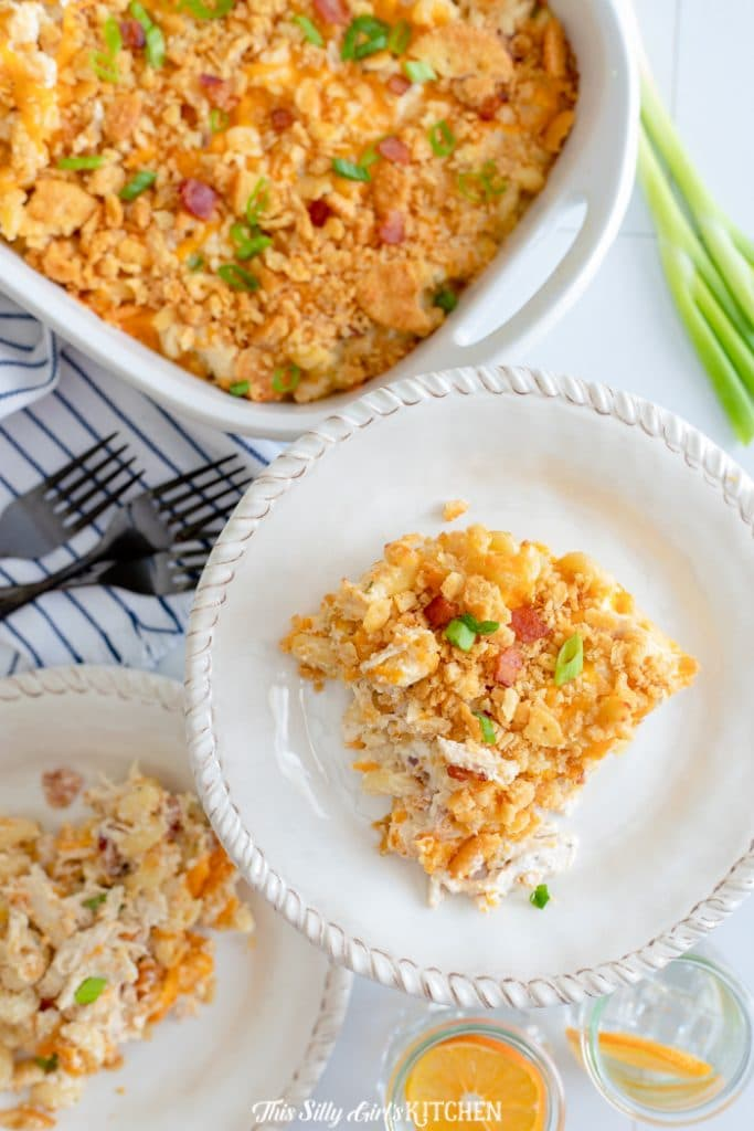 overhead portions of chicken noodle casserole
