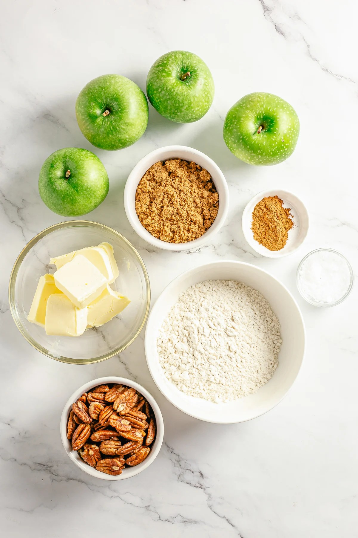 Ingredients needed to make Easy Apple Crumble.