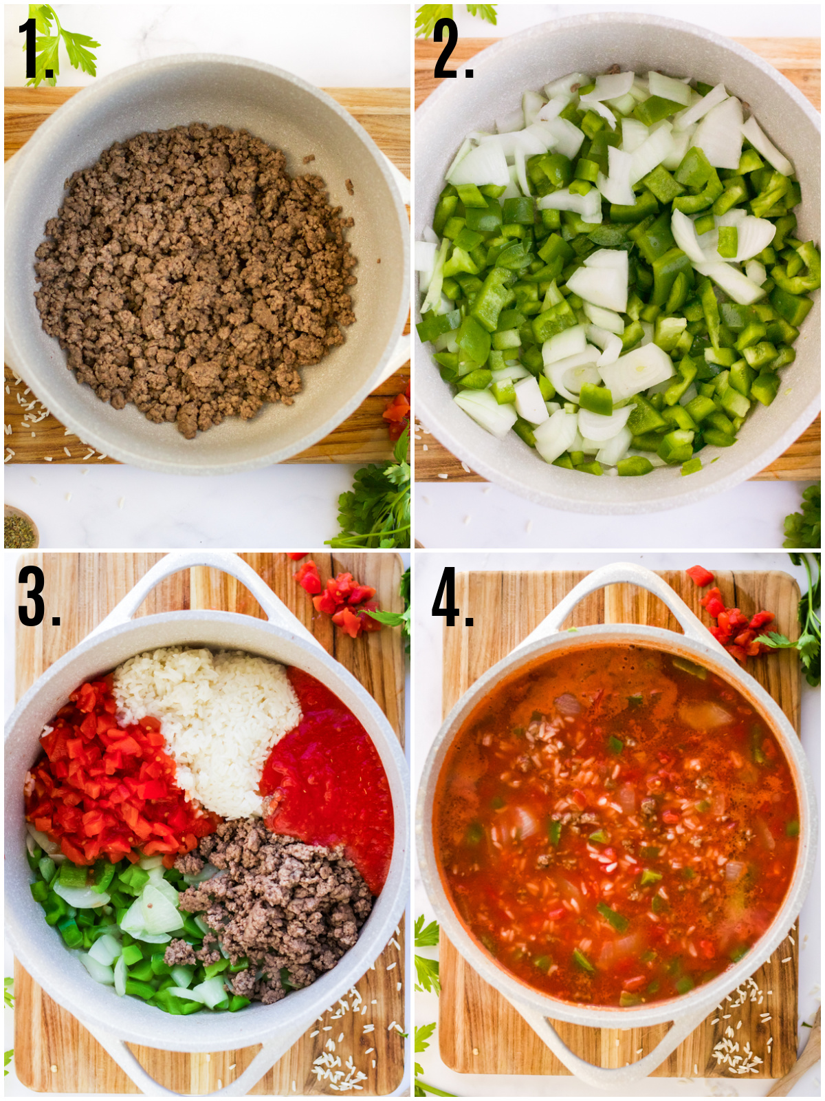 Step by step photos on how to make Stuffed Pepper Soup