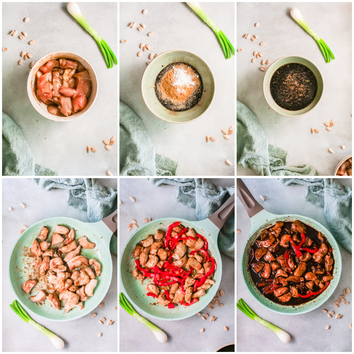 Step by step photos on how to make Kung Pao Chicken