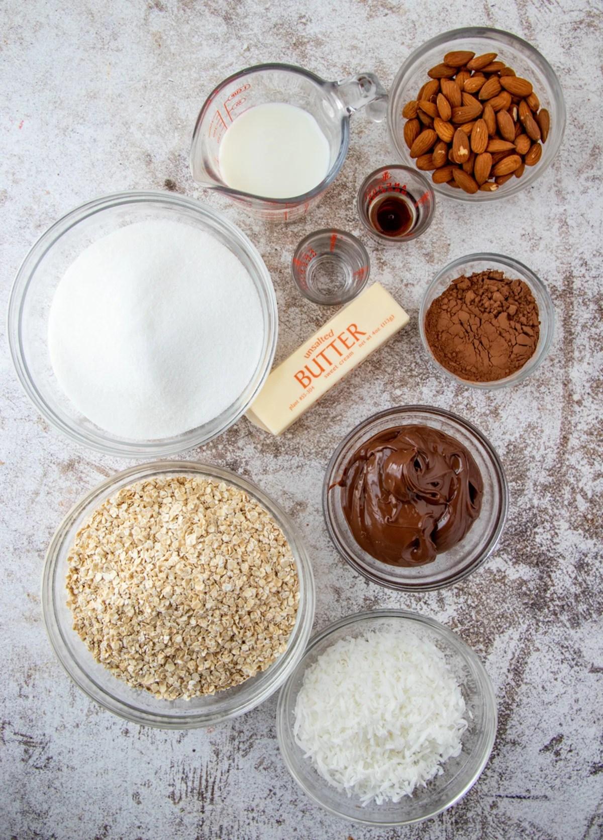 Ingredients needed to make No Bake Almond Joy Cookies