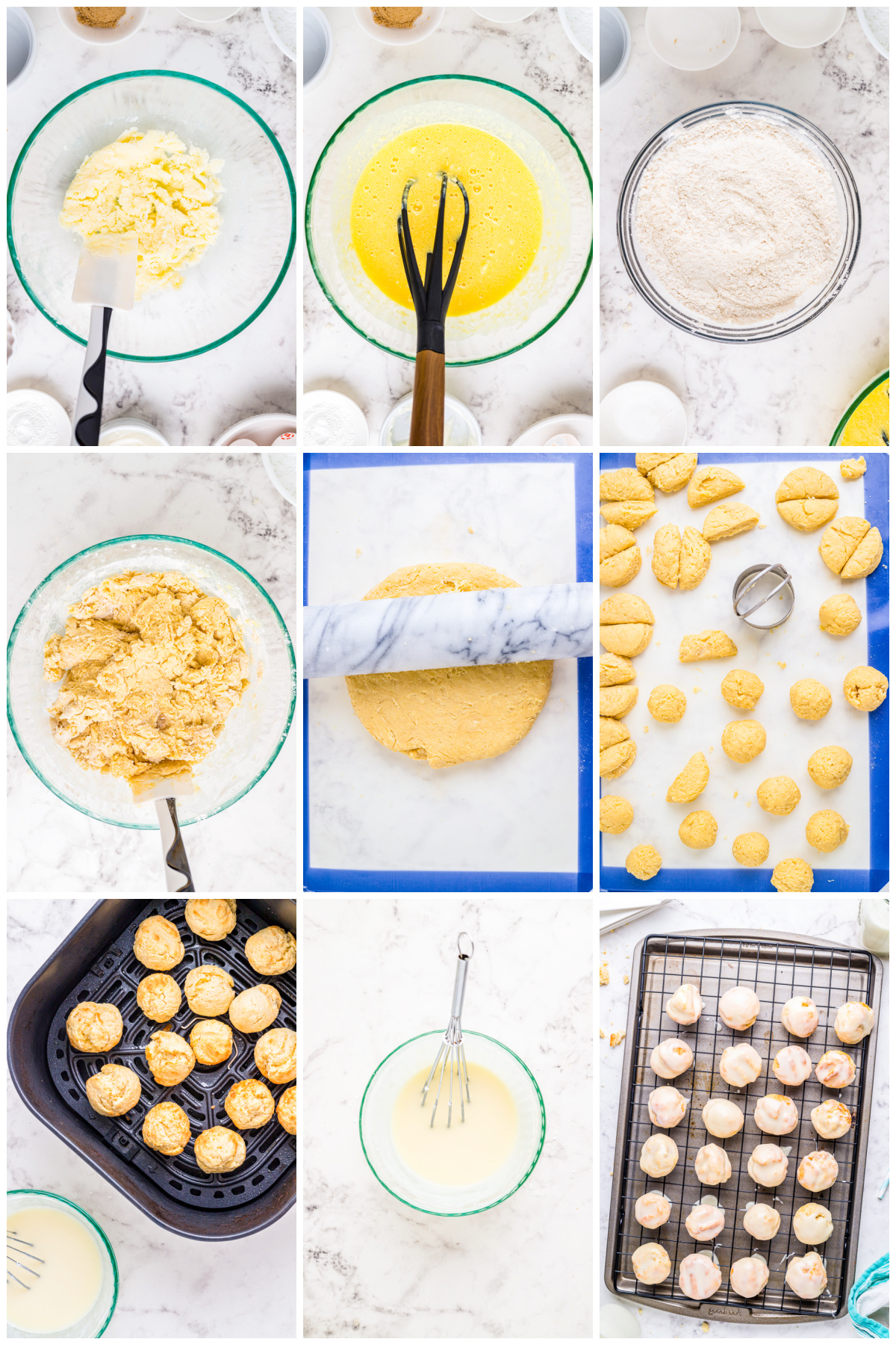 Step by step photos on how to make Munchkins